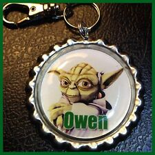 Personalized YODA Star Wars Bottle Cap, Key Ring Chain, Zipper Pull For Backpack