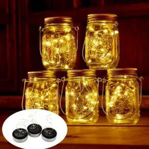 Solar Powered Mason Jar Lid String Fairy Lights Garden Outdoor Party Decor Lamp