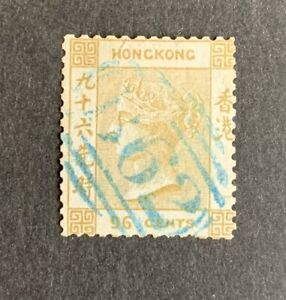 """Hong Kong 1863-71 96c. olive-bistre used by blue """"B62"""" neat cancel SG 18 £750"""