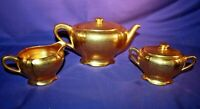 OSBORNE CHINA teapot creamer & sugar set 24k gold hand painted vintage