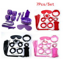 7Pcs set Adult-Sex-SM Toys-Handcuffs-Cuffs-Strap-Whip-Rope-Neck-Bandage-Sexy-Toy