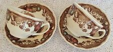 Johnson Brothers Bros HIS MAJESTY Turkey Thanksgiving Cups & Saucers 2 Sets 4 Pc