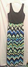 Luxology Long Dress Black Stretch Top Geometric Full Skirt Size L Poly Spandex C