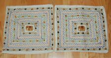 Lot 2 VTG Elephant Decorative Pillow Cover Sham Case Mirror Work India Sheesha