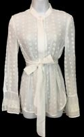 Chloe Top Milk White Embroidered Eyelet Shirt LS NWT $1150 Size 36