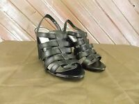 JS by Jessica Maccus Strappy Open Toe Heels Shoes Black Women's Size 9 B