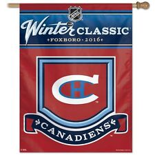 "MONTREAL CANADIENS 2016 WINTER CLASSIC FOXBORO 27""X37"" BANNER FLAG NEW WINCRAFT"