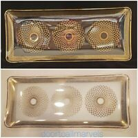 """Art Deco Serving or Vanity Tray Glass Rectangular Gilded Delicate Stylized 13.5"""""""
