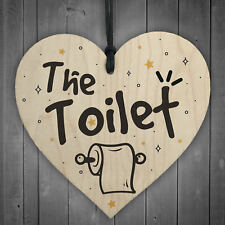 Shabby Chic The Toilet Hanging Wooden Heart Home Toilet Plaque Door Sign Gifts