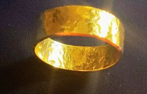 Womens 22K Gold Ring Hand Hammered Celtic Classic Ring Size 7.5 or sized, 4.8g