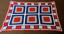 vintage red white blue square AFGHAN BLANKET throw crochet handmade 94 x 60