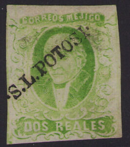 cs06 Mexico #3 2R San Luis Potosi Mint No Gum in Yellow Grn VF for issue est