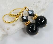 Gold Ohrringe Achat, Onyx   Perlen  schwarz  mit Kristall