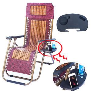 Reclining Sun Lounger Outdoor Garden Folding Gravity Chair Clip Drink Tray CAU