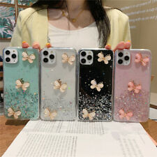 For iPhone 11 Pro Max XR 8 7 Clear Patterned Bling Glitter Butterfly Case Cover
