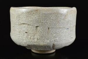 L1250: Japanese Old Seto-ware White glaze TEA BOWL Green tea tool Tea Ceremony