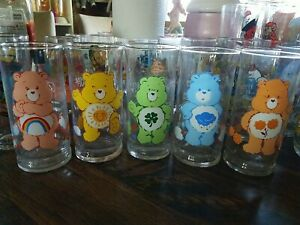 5 Vintage 1983 Care Bear Pizza Hut Glasses bears lucky friend grumpy cheer shine