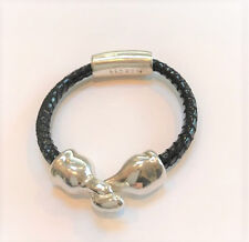 SIMON SEBBAG DESIGNS STERLING SILVER BEAD BRACELET ON SUEDED BLACK LEATHER