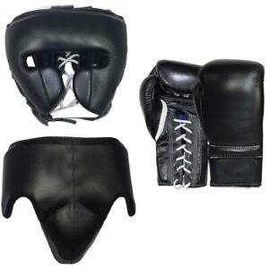 Custom Made, Black, Winning Boxing Gloves, Head Gear Open Face, Groin Guard