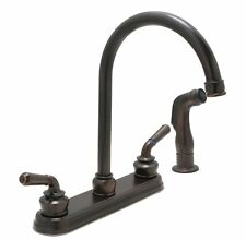 "Huntington Brass Kitchen Faucet Gooseneck Spout Cypress 8"" Center Side Sprayer"
