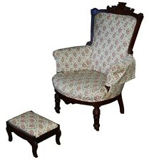 Victorian Armchair with Matching Footstool 1800-1899 #7420