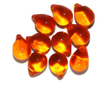 Orange Pear Czech Pressed Glass Beads 14mm (pack of 10)