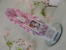 Taufkerze geschnitzt rosa mit Foto Name und Datum Taufkerzen für Mädchen