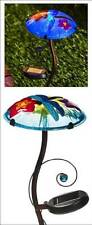 Solar LED Lighted Mushroom Garden Stake with Hand Painted Dragonfly Graphic