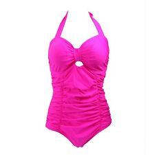 Women's Halter One Piece Bathing Suit Solid Color Sweetheart Monokini Swimsuit