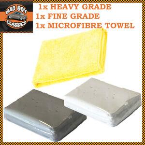 Argile Barre Kit Pour Auto Pré Cire Vernis Detailer Treatment Chiffon Microfibre