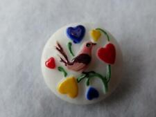 New listing Gorgeous Raised Vintage Bohemian Glass Bird & Hearts Colorful Button