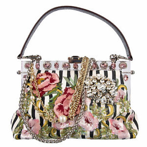 DOLCE & GABBANA Brocade Embroidered Clutch Shoulder Bag VANDA Black White 08259