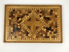 Charcuterie Board Platter Tray Rectangle Mixed Wood Inlay Cheese Meat Serving