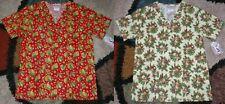 2 pc Christmas V Neck Scrub Top Bottom Pockets Patch Leaves & Bells Print Medium