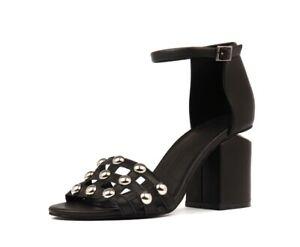 Mollini Koro Block Heel Sandal   Silver Studs, Soft Leather, Ankle Strap $200 RP