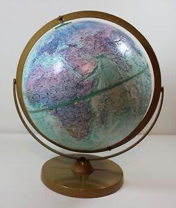"""Vintage Replogle Stereo Relief 12"""" Diameter Globe World Ocean Series"""