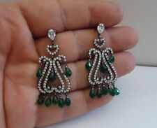 925 STERLING SILVER VINTAGE TEARDROP CHANDELIER EARRINGS W/14 CT EMERALD/ACCENT