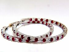 14k White Gold Over 2.5CT Brilliant Cut Red Ruby & Diamond Wedding Hoop Earrings