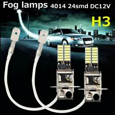 2 x H1/H3 6500K White 24-SMD 4014 LED High Power Bulb DRL Fog Light Driving Lamp