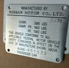Datsun 280Z Door Jamb Plate Reproduction Engraved With Your Chassis Numbers