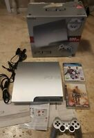 RARE BOXED Satin Silver PS3 Slim 320GB CONSOLE BUNDLE with controller 3 Games