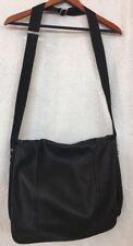 Lanvin Messenger Bag Bookbag Computer Bag Black Leather Large Nylon Lining