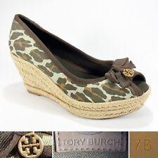 Tory Burch Womens Size 7 Espadrille Leopard Print Canvas Burlap Wedge Heel w Bow