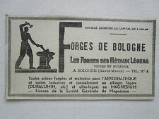 1935-40 PUB FORGES DE BOLOGNE AERONAUTIQUE DURALUMIN MAGNESIUM FRENCH AD