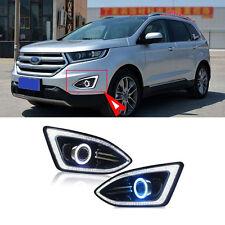 DRL+Super COB Fog Lights Source Angel Eye Bumper Cover for Ford Edge 2015