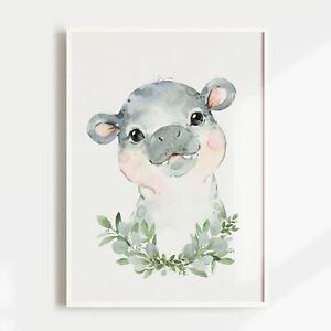 Nursery Print, Baby, Boys, Girls, Animals, Baby Hippo Wall Art, Jungle, Safari