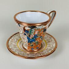 Charlotte di Vita KLIMT Miniature Enamel Tea Cup Saucer Hand Painted Copper