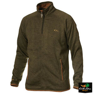 NEW DRAKE WATERFOWL HERITAGE KNITTED FLEECE ¼ ZIP PULLOVER SHIRT OLIVE LARGE