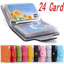 Slim PU Leather Business ID Credit Card Holder Pocket Case Purse Wallet 24 Cards