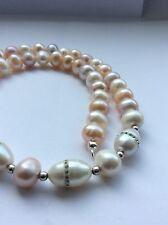 Süßwasserzucht Perlen Collier flieder  weiß peach  Swarovski Kristalle Silber